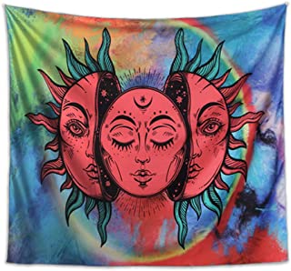 Colorful moon and sun Wall Tapestries ,Indian Boho Tapestry Wall Hanging Hippie Tapestry , Sun Tapestry With Azure Backdrop Large Wall Tapestry For Bedroom Living Room Dorm Decorations.