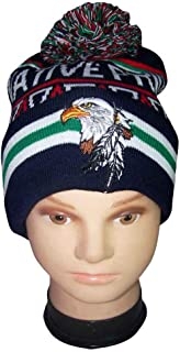 Eagle & Feathers Native Pride Beanies Winter Caps Winter Hats Embroidered (WcNp47 Z)