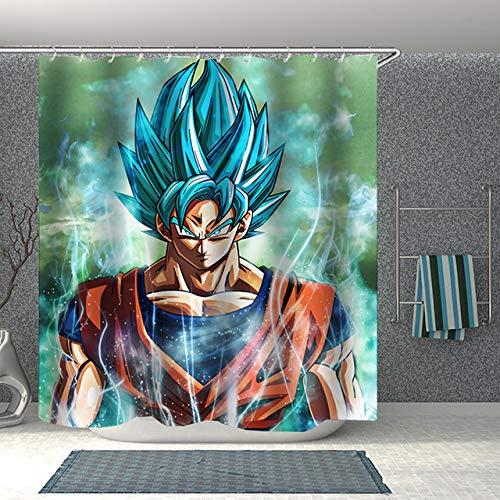 zhanghui2018 Anime Dragon Ball Z 3D-Druck Duschvorhang Polyester Stoff Badvorhang Wasserdicht Haken Badevorhang