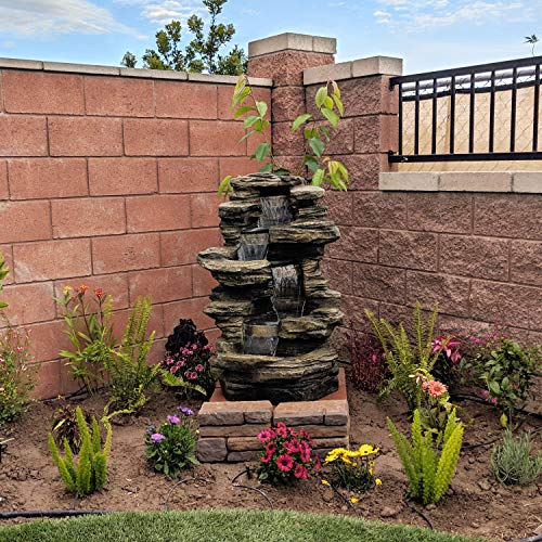 Sunnydaze Stacked Shale Rock Waterfall Fountain with LED Lights - Outdoor Rock Water Fountain for Patio, Backyard, & Garden - 38 Inch Tall