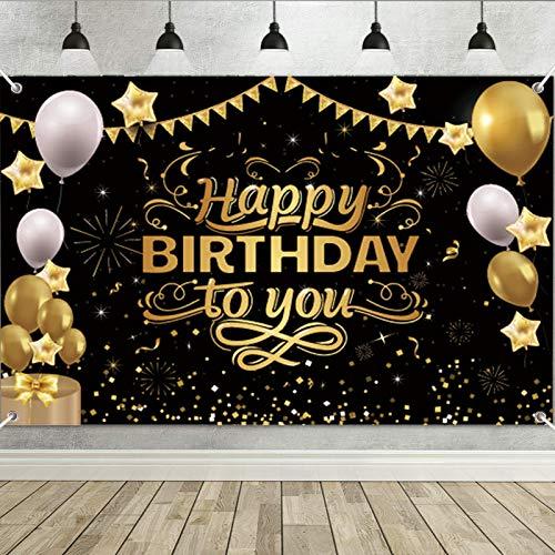Decoración de Fiesta de Cumpleaños,Banner de fondo cumpleaños,Pancarta Feliz Cumpleaños,para Fotografia Party Photo Studio Props Photo Booth (Negro)