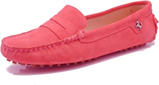 Minishion Girls Womens Casual Comfortable Suede Leather Driving Moccasins Loafers Boat Shoes Flats