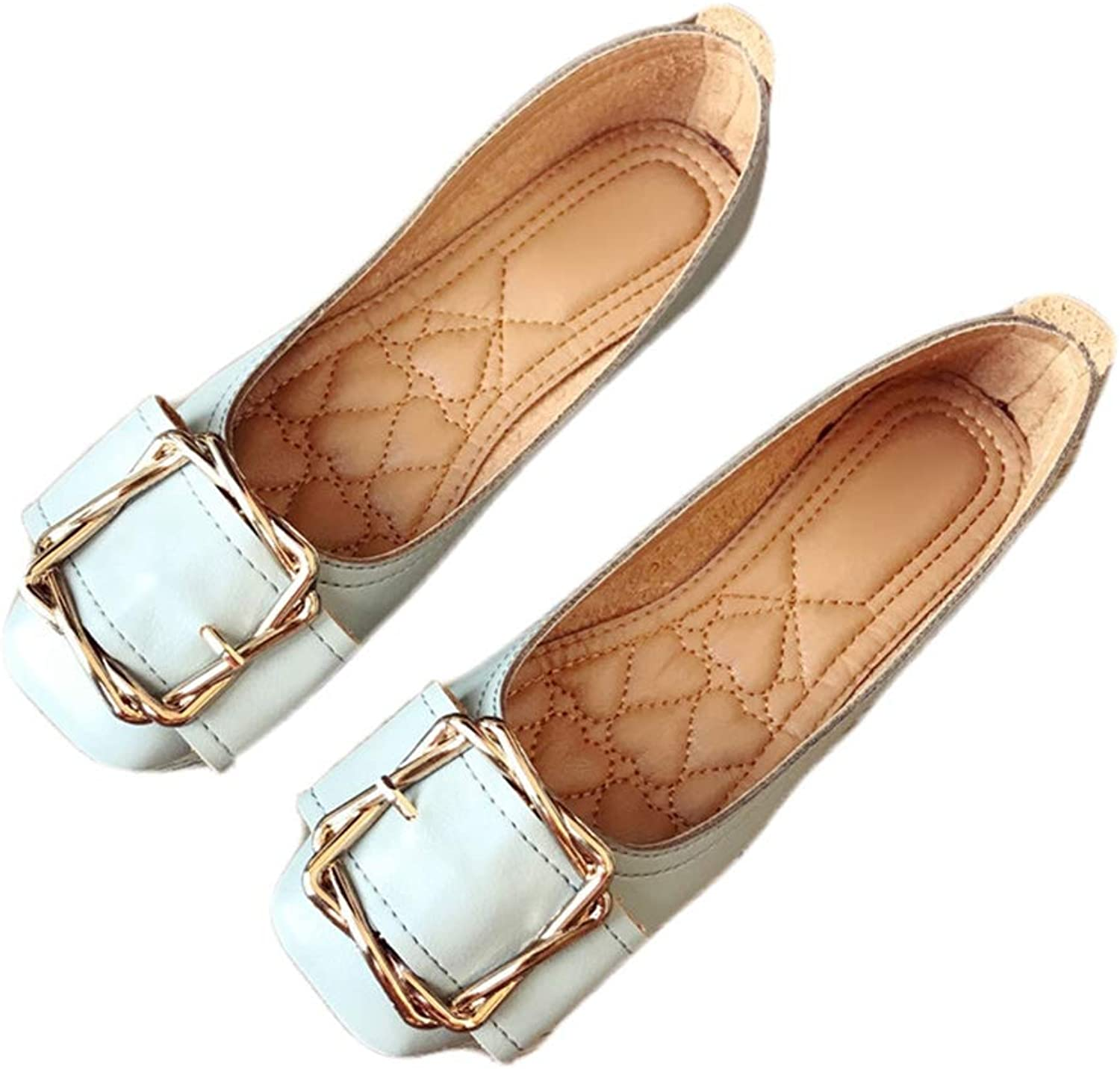 August Jim Women's Flat shoes,Round Toe Buckle Natural Soft Ballet Fashion Loafers