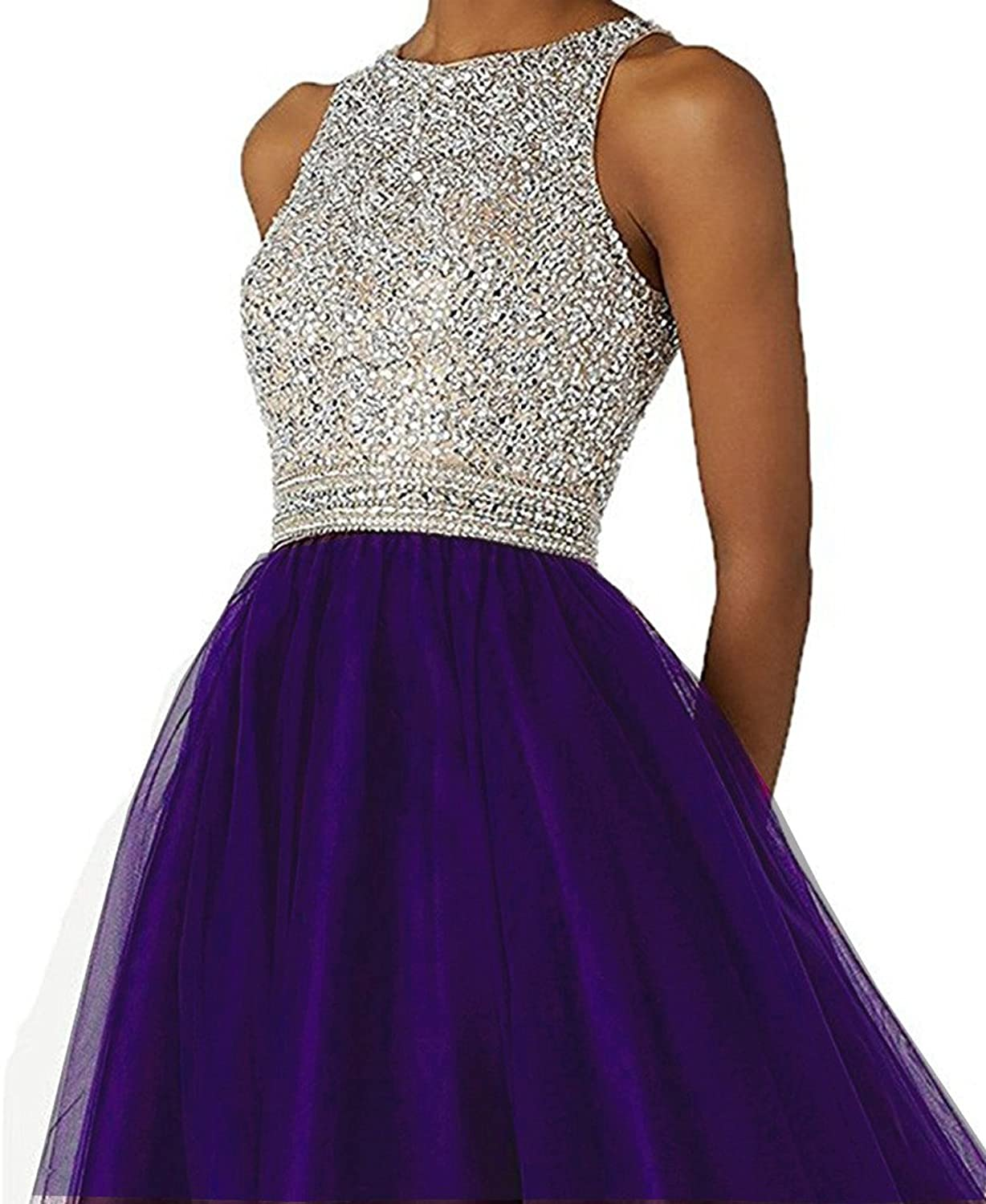 Sound of blossoming Short Beading Homecoming Dress Open Back Prom Gown148