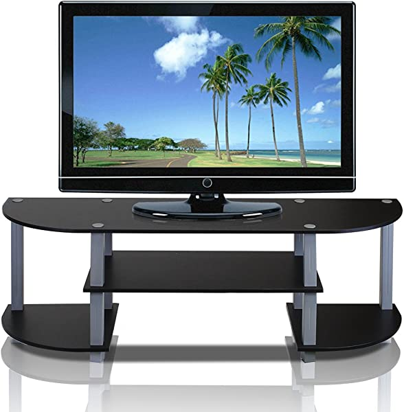 Furinno 11058BK GY Turn S Tube Wide TV Entertainment Center Black Grey