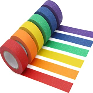 AUTENS Colored Masking Tape, 6 Pack 1 Inch x 13 Yards (2.4cm X 12m) Colorful Paper DIY Decorative Stickers Tape Fun Rainbo...