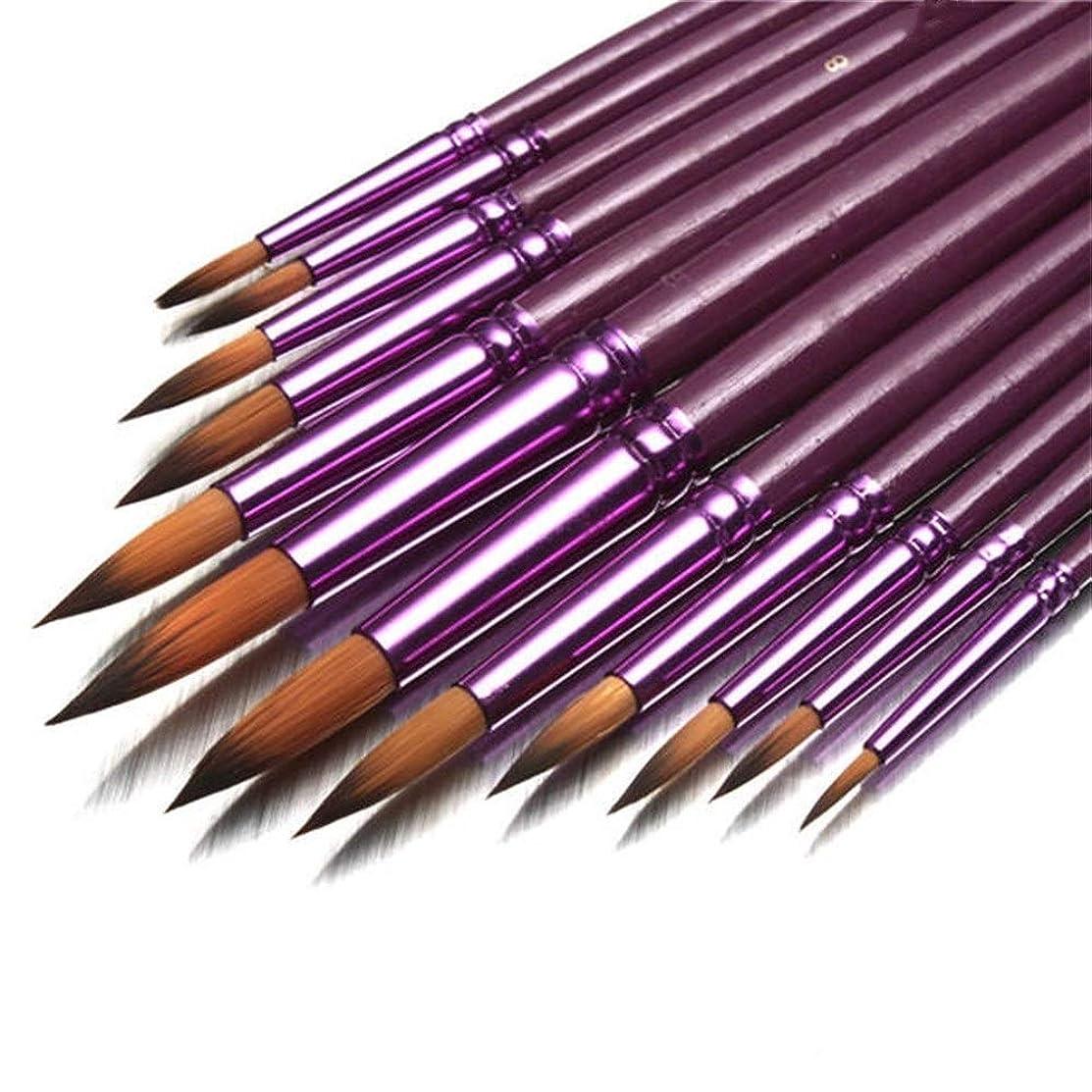 物足りない雑種既に画筆セット ブラシアーティストナイロンヘア水彩オイルドローイングペンアーティストがセットペイント絵画個入りフラットチップラウンドヒント 幅広い用途と良い感触 (色 : 紫の, Size : 1)