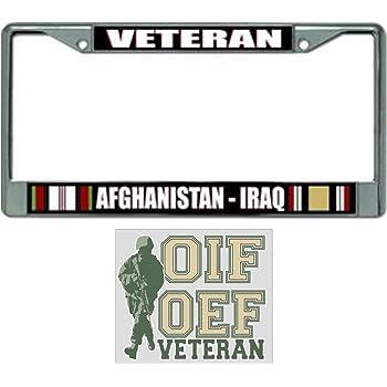 IRAQ VETERAN CHROME Military License Plate Frame Tag Cover Aluminum Metal