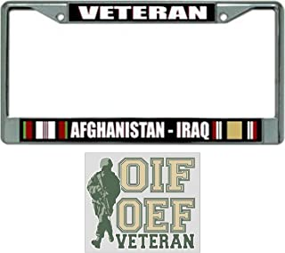 Afghanistan Iraq Veteran License Plate Frame Bundle with OEF OIF Veteran Decal