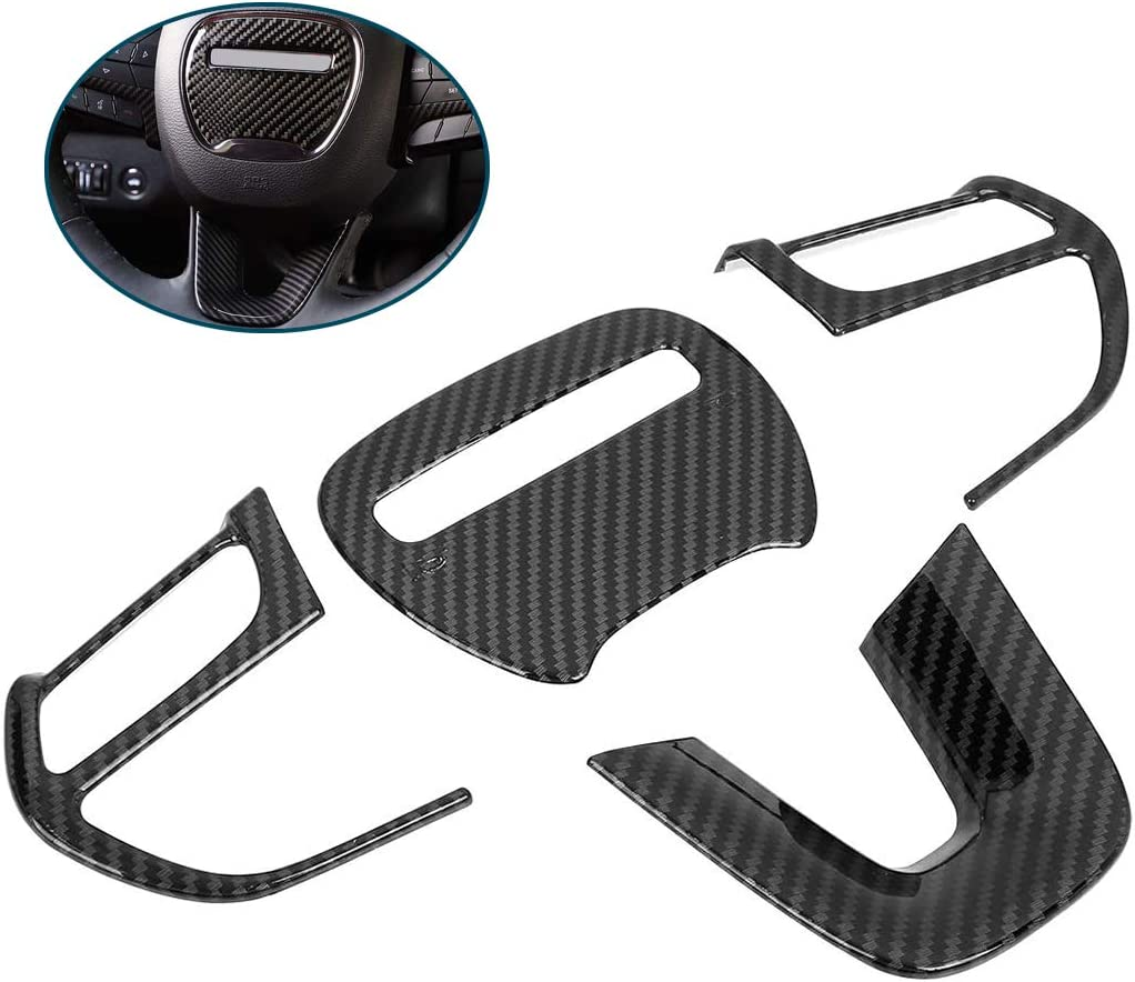 GaofeiLTF Steering Wheel Cover Trim for Dodge Challenger Charger 15-20 Carbon Fiber Look Interior Accessories Decoration Kit 4pcs