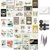 36 Buon Compleanno Carte con disegni tutti diversi, Happy Birthday biglietto auguri con 36 buste, 36 adesivi e una penna a 12 colori per adulti, donne, uomini e bambini, 10 * 15 cm