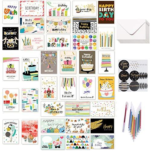 36 Stücke Geburtstagskarten Set mit allen verschiedenen Designs, Happy Birthday Geburtstagskarte mit 36 Umschlägen, 36 Aufklebern und einem 12-Farben-Stift, 10 * 15 cm
