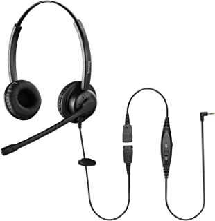 Sinseng 2.5mm Call Center Telephone Headset with Noise Canceling Microphone for Cisco Panasonic Vtech Uniden Grandstream a...