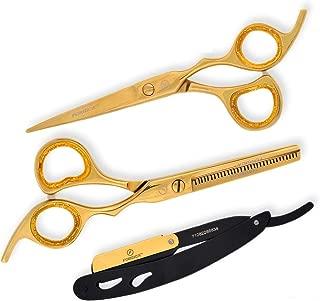 Golden Hair Cutting Scissors/Thinning Shears/Professional Barber/Straight Razor/Barber Scissors/Barber Shears with Fine Adjustment Screw Japanese Stainless Steel - Forgica