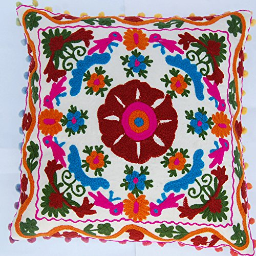 Traditional Jaipur Suzani Almohadas, funda de cojín bordada 40.6 x 40.6 cm, funda de almohada decorativa, pompón indio, cojines para exteriores, fundas de almohada bohemias