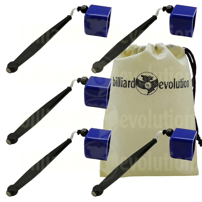 Set of 5 Blue Pocket Chalk Holders with Billiard Evolution Drawstring Bag