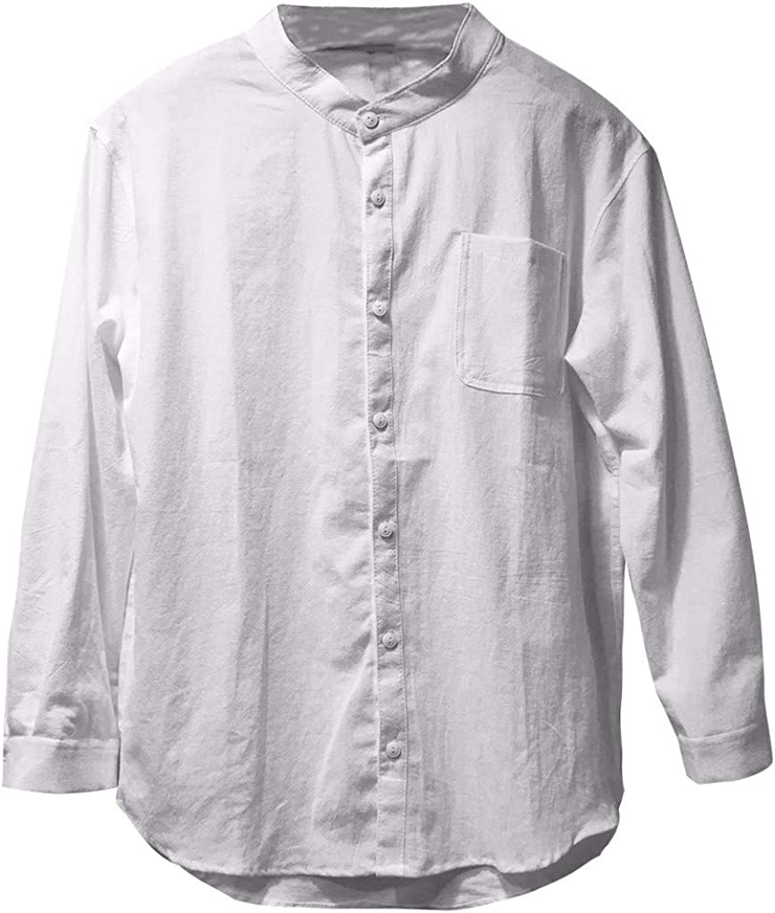 MODOQO Men's Button Down Shirt Long Sleeve Linen Casual Solid Crewneck Dress Shirts