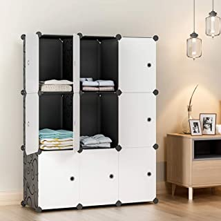 "KOUSI Large Cube Storage - 12""x16"" Depth Cube (9 Cubes) Cube Organizer Cube Storage Shelves Cubby Organizing Closet Storage Organizer Cabinet Shelving Bookshelf Toy Organizer, Black"