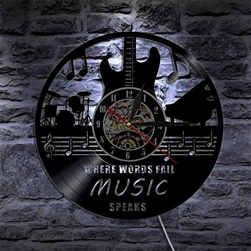 Reloj de pared con luz LED de 7 colores con grabación de vinilo Where Words Fail Music Habla cita musical Arte de pared Guitarra decorativa LP Rock n Roll Music Gift