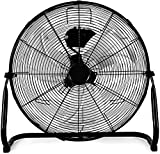 HealSmart 20 Inch 3-Speed High Velocity Heavy Duty Metal Industrial Floor Fans Oscillating Quiet for Home, Commercial, Residential, and Greenhouse Use, Outdoor/Indoor, Black