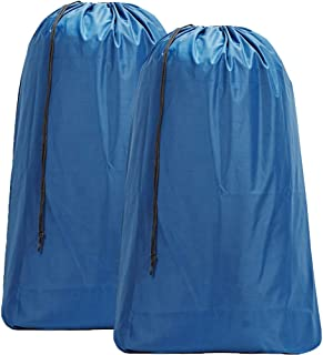 HOMEST 2 Pack Nylon Laundry Bag, 28 x 40 Inches Travel Drawstring Bag, Rip-Stop Large Hamper Liner, Machine Washable, Light Blue