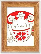 Cherry Blossoms Lucky Fortune Cat Japan Desktop Moldura de madeira para quadros de fotos, pintura de arte, vários conjuntos