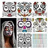 KATOOM 6pcs Tatuaje cara temporales IMPERMEABLE halloween, Etiqueta temporal cara/Diseño cráneo con gemas/Colorido terror adhesivas para maquillaje en baile de disfraz a halloween