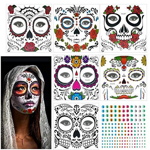 KATOOM 6stk Temporäre Tattoos Gesicht Set Tag der Tote Schminken Karneval Damen Kostüm Kinder Suger Skull Make Up Gesichtstätowierung für Festival Halloween Allerheiligen Cosplay
