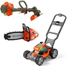 Husqvarna Battery Powered Kids Toy Lawn Mower, Lawn Trimmer, & Chainsaw