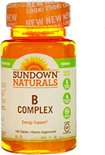 Sundown Naturals B-Complex, Tablets 100 ea (Pack of 4) - Packaging May Vary