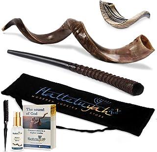 """مجموعه HalleluYAH Shofar - Half Polished 24 """"-28"""" Kudu Horn، Oryx، Ram - ساز سنتی موسیقی باستانی برای مراسم روحانی یهودیان و مذهبی - معتبر ساخته شده در اسرائیل"""