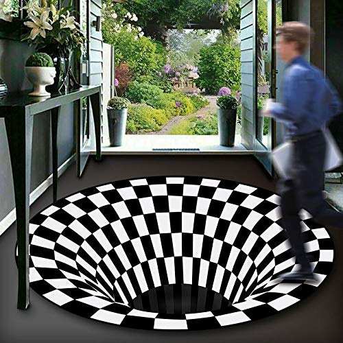 NOBCE Alfombra Redonda en Blanco y Negro con visión estéreo 3D, Alfombra de ilusión para Sala de Estar, Alfombra geométrica Abstracta para el hogar 120CM