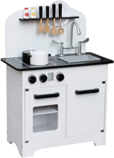 Pidoko Kids Wooden Toy Kitchen, White /Black Limited Edition - Includes Accessories