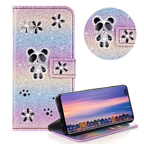 Glitzer Strass Brieftasche für Galaxy S10 5G,Regenbogen Lila Leder Handyhülle für Galaxy S10 5G,Moiky Luxus 3D Magnetisch Kristall Niedlich Panda Blumen Diamant Hülle mit Kartenfächer Ständer