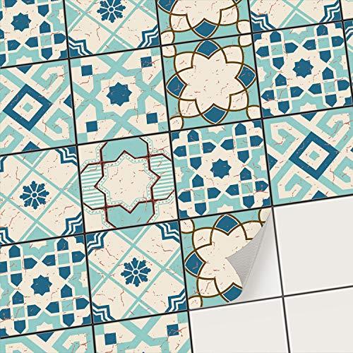 creatisto Mosaik Klebefliesen Stickerfliesen Fliesenfolie - Klebe Folie für Wandfliesen I Klebefliesen Deko Folien für Fliesen Ornament in Bad u. Küche (10x10 cm I 72 -Teilig)