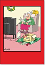12 'Wii' Boxed Christmas Cards with Envelopes (4.75 x 6.625 Inch), Old Lady Knitting with Electronics Christmas Notes, Funny Cartoon Holiday Cards, Unique Christmas Stationary B1663