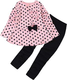 9007f1699b03b Sunenjoy Vêtements 2 PCs Enfant Bébé Filles Long Manchon Points Imprimer  Arc T-Shirt et