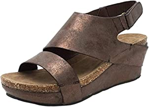 LOVOZO Fashion Retro Ladies Platform Platform Wedges with Back Casual Sandals