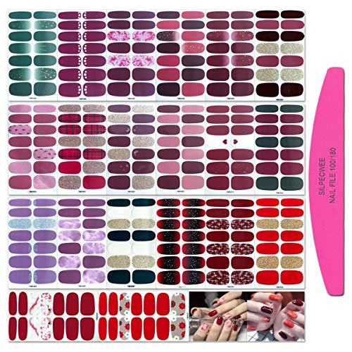 SILPECWEE 20 Sheets Adhesive Nail Polish Wraps Stickers Strips 1Pc Nail File Solid Color Nail Art Decals Red Style Manicure Kit For Women