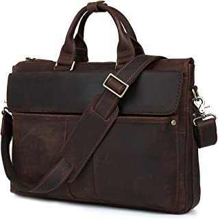 "Iswee Cow Leather Briefcase Business Messenger Bag 16"" Laptop Shoulder Bag Traveling Computer Bag for Men"