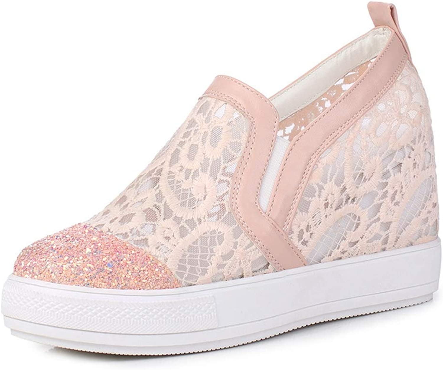 Fashion shoesbox Women Fashion Laces Low Top Slip On Wedge Sneakers Platform Increased Height Casual Sports shoes