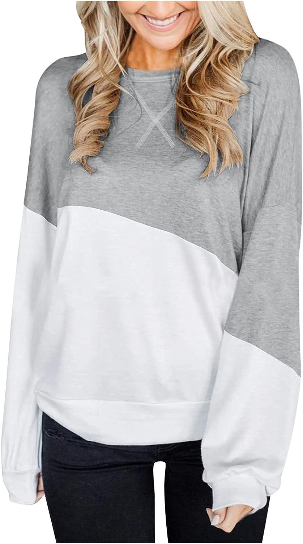 Women Crewneck Color Block Sweatshirt Oversized Trendy Teen 90s Selling rankings Max 76% OFF
