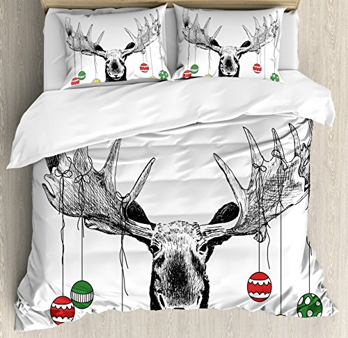 Ambesonne Moose Duvet Cover Set, Christmas Moose with Xmas Ornaments Balls Hanging from Horns Funny Noel Sketch Art, Decorative 3 Piece Bedding Set with 2 Pillow Shams, Queen Size, Black White