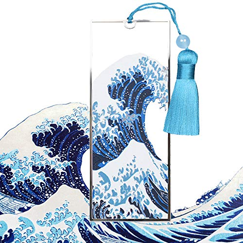 AOZIKA-Japanische Ukiyo-e-Künstler Hokusai's Die große Welle Metall Lesezeichen,Japanische Geschenk für Buchliebhaber,Buchzubehör.Geschenk für Bücherwürmer,Kinder,Freunde,Lesen,Liebhaber. (A)
