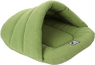 UEETEK Igloo Panier pour chat et chien, petit coussin, sac de couchage pour chien, doux, en coton chaud, vert, taille M 48...