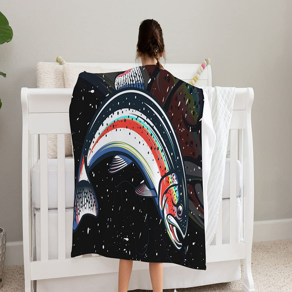 LPVLUX trend rank Salmon Fishing Logo Special Campaign Rainbow Trout S Fish 3 Blanket Super