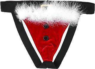 Aislor Hommes Santa Jockstrap Noël G String Tanga Slip en Velours Élastique Lingerie Taille Basse Fesse Ouvert sous-Vêteme...