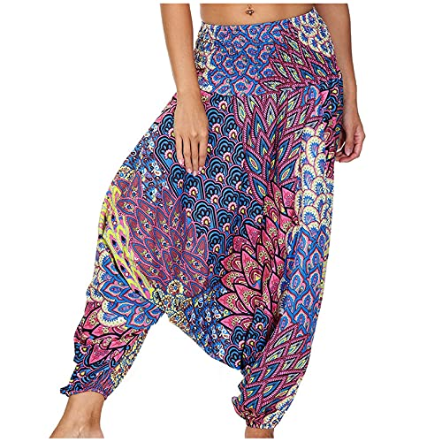 URIBAKY - Pantalón de yoga para mujer, con estampado bohemio, cintura alta, estampado floral, elástico, cintura, pantalón largo, rojo, Talla única