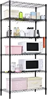LANGRIA 6 Tier Garage Shelving Shelving Unit, Storage Rack Garage Shelf Heavy Duty Metal Shelves, Black