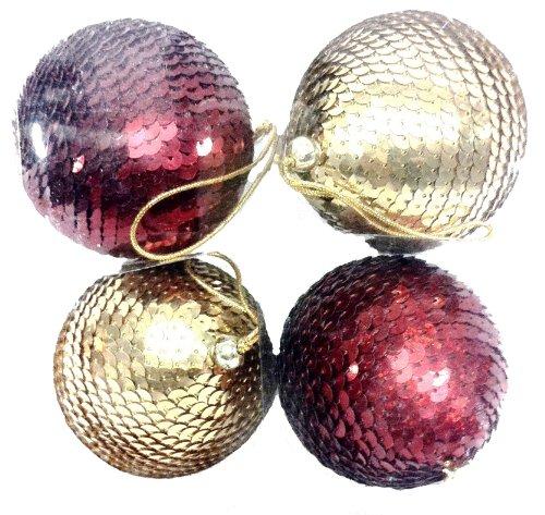 MG Decor Collection Madhus Flocons décoratifs à Suspendre ornés de Sequins Assortiment de Boules de Noël dans boîte Cadeau 5 cm